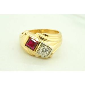 14K Yellow Gold Diamond and Syntheti Ruby Ring